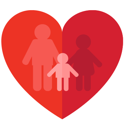 Red heart with parents and child
