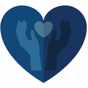 Blue heart with hands holding a smaller heart