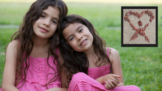 Sisters in pink dresses sitting in the grass