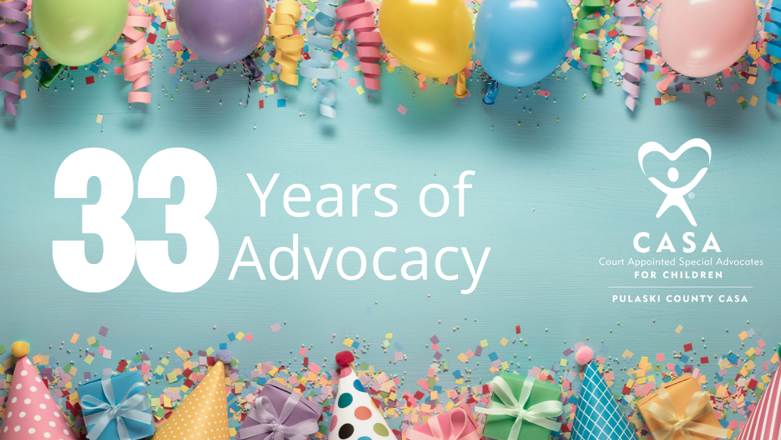 Balloons and Party Hats with the text 33 Years of Advocacy